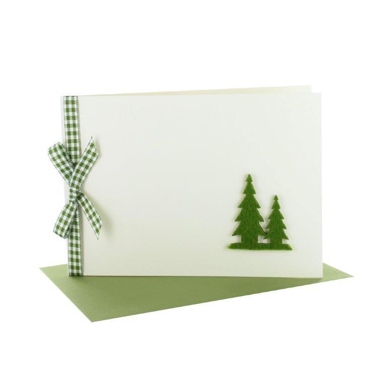 Grußkarten Weihnachten mit karierter Schleife und Filzbäume grün
