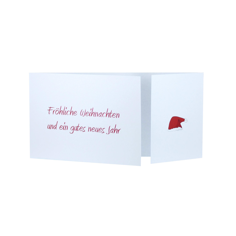 Weihnachtskarten DIN lang mit Altarfalz und Aufdruck fröhliche Weihnachten und ein gutes neues Jahr und Mutze rot