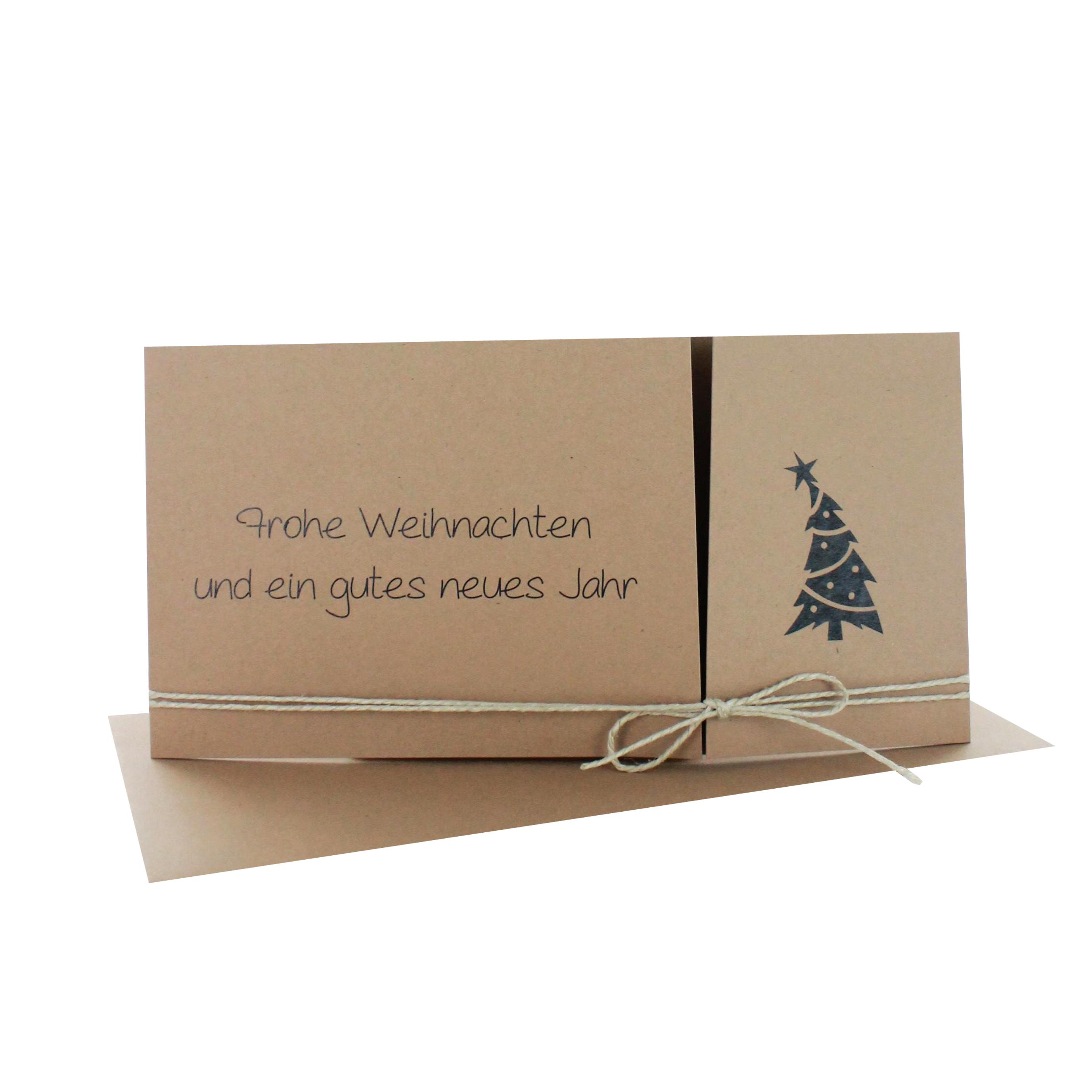 Weihnachtskarte DIN lang quer mit Altarfalz und Aufdruck frohe Weihnachten und ein gutes neues Jahr