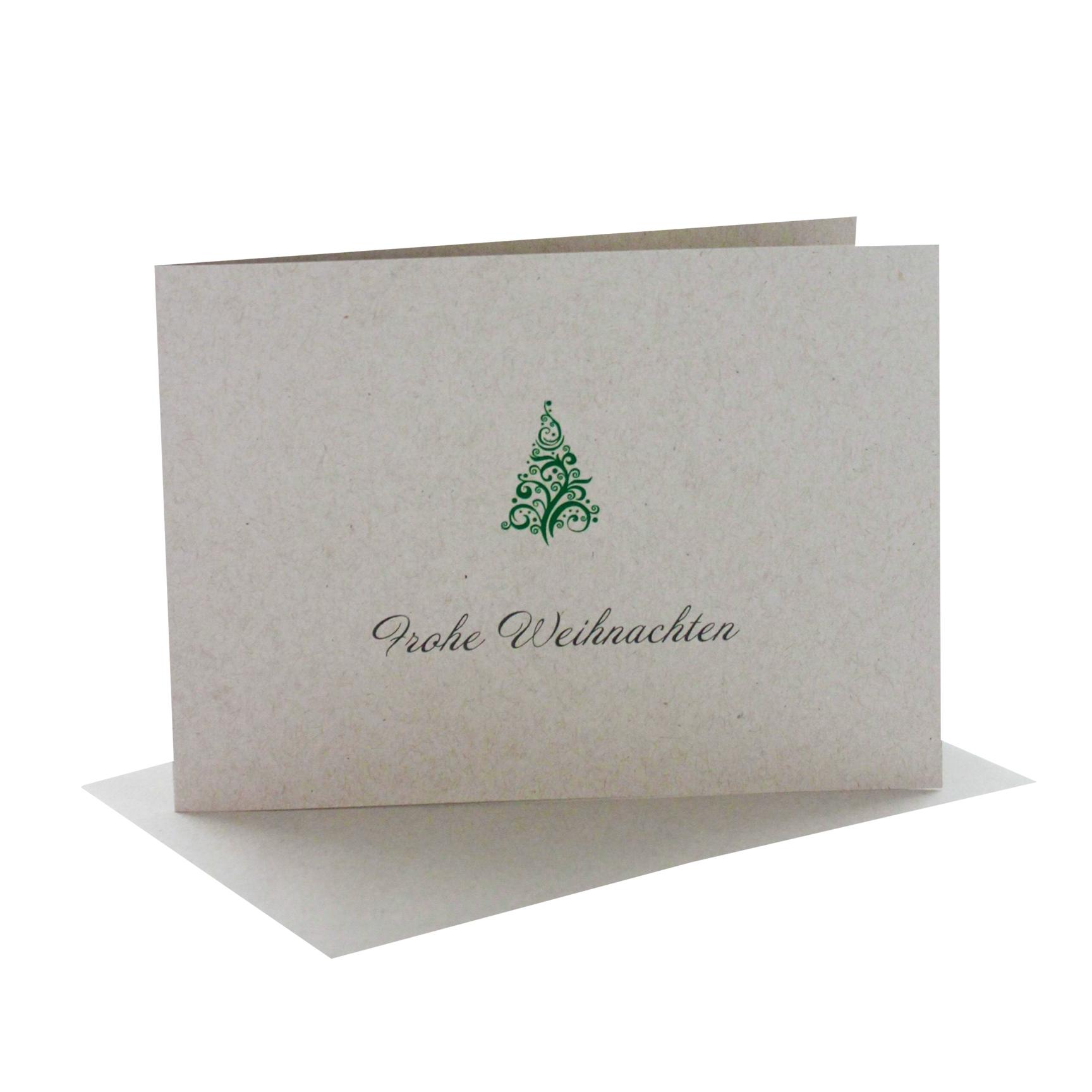Weihnachtskarten Design DIN B 6 Querformat mit Aufdruck frohe Weihnachten und Baum