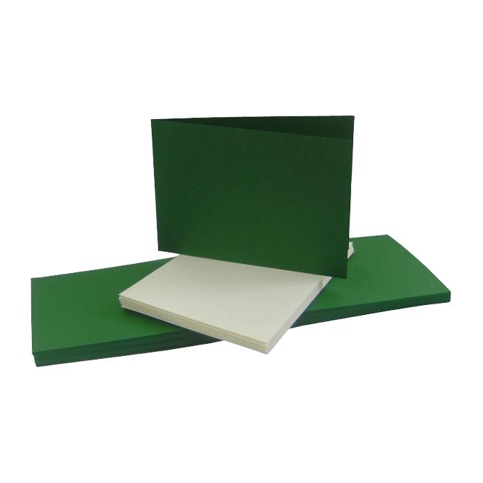 blanko Klappkarten DIN B 6 Querformat tannengrün mit Briefumschlägen creme