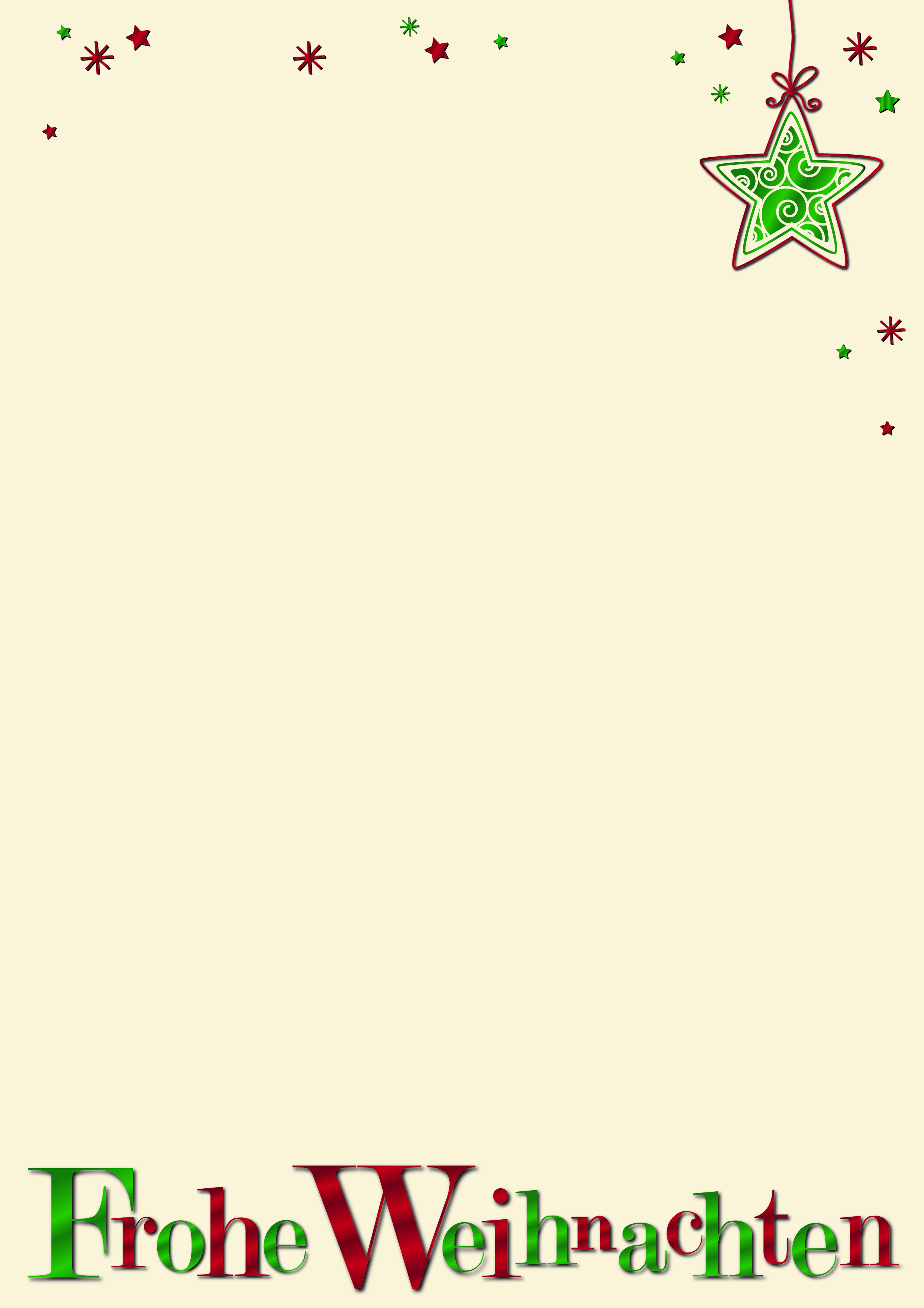 gschäftliche Weihnachtsbriefpapiere DIN A 4 mit Aufdruck frohe Weihnachten und Sterne