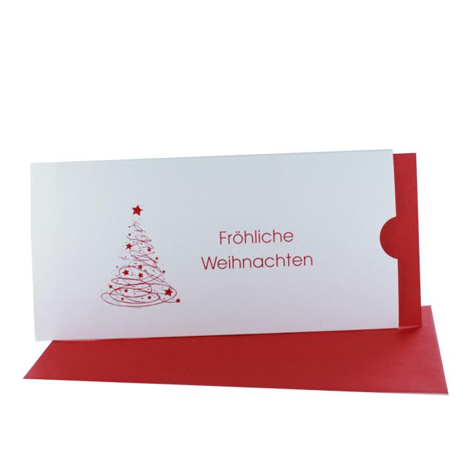 besondere Weihnachtskarten Tasche creme mit Einsteckkarte rot DIN lang quer