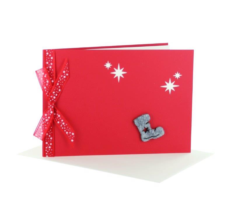 Grußkarten Weihnachten als Booklet rot Querformat mit Schleife und Einleger zum Ausdrucken