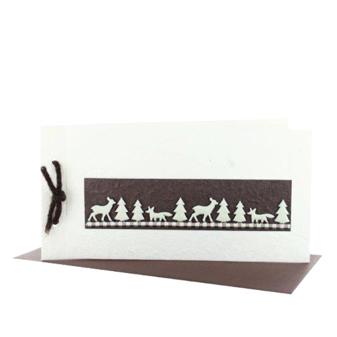 Grußkarten Weihnachten als Booklet DIN lang quer cremefarben mit braunem Band und aufgearbeitetem Filzband mit Tieren