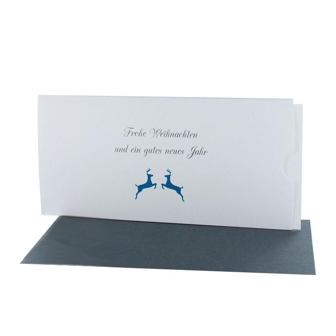 Weihnachtskarten DIN lang Querformat mit Aufdruck zwei Hirsche
